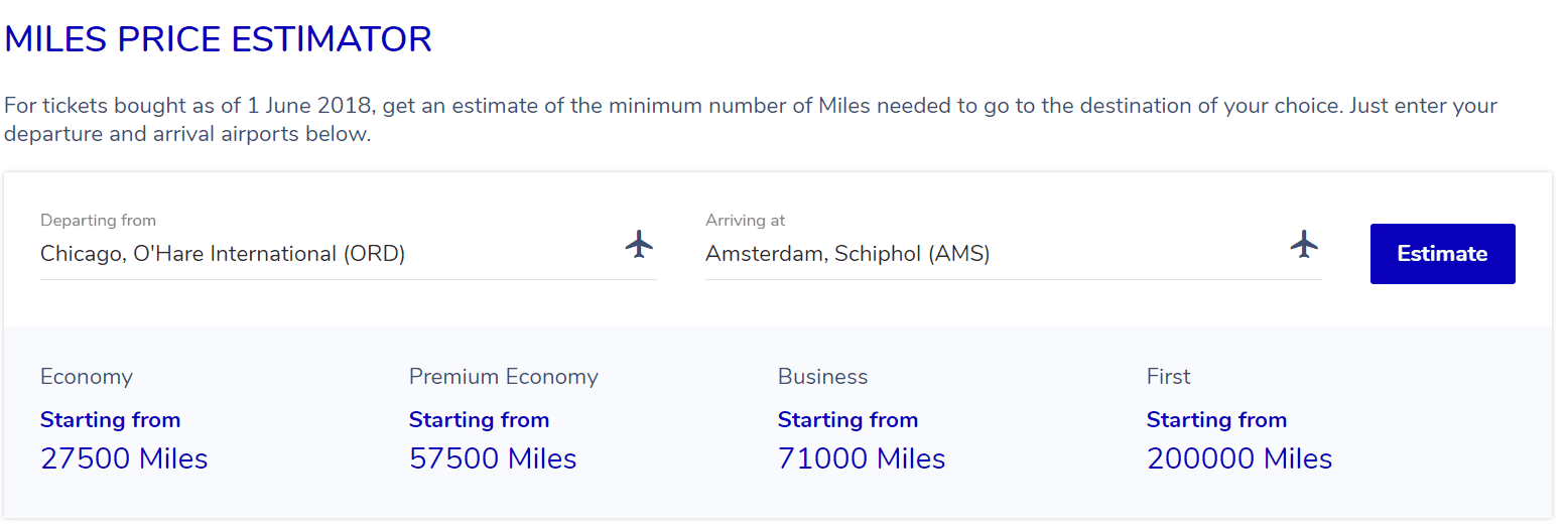Chicago to Amsterdam award pricing