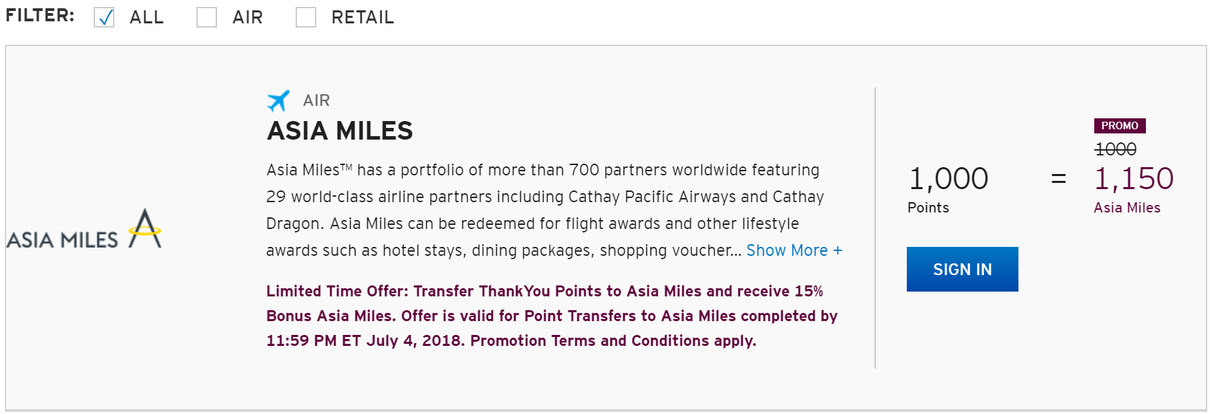 Citi ThankYou Transfer Bonus To Asia Miles