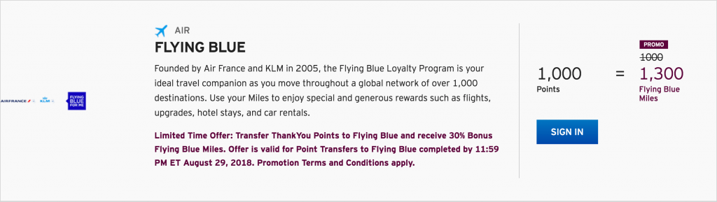 30 Percent Flying Blue Bonus from ThankYou Points