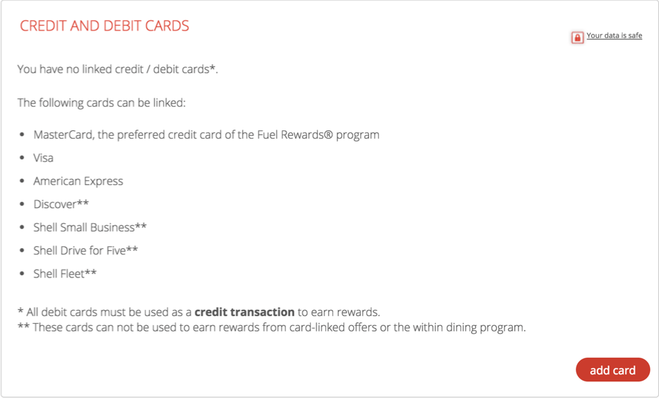 Fuel Rewards - Manage Cards Add Card
