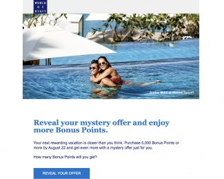 World of Hyatt Points Purchase Promotion Summer 2018
