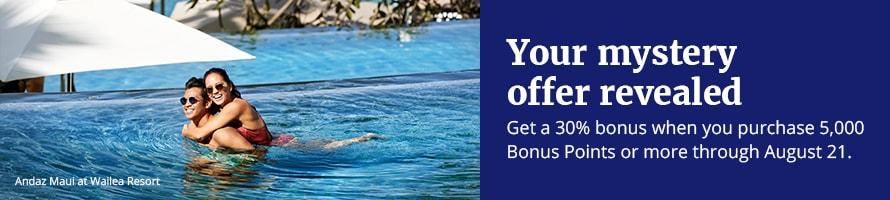World of Hyatt Points Purchase Promotion Summer 2018 Offer 30 Percent