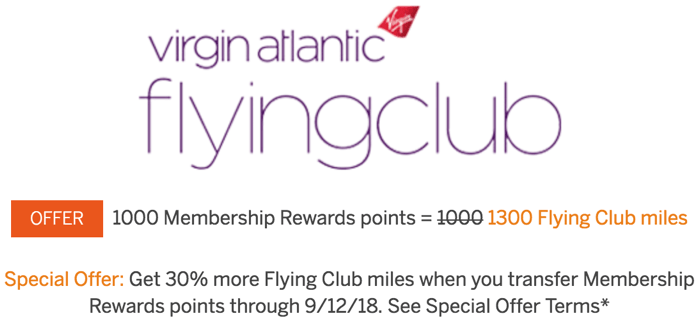 American Express Membership Rewards to Virgin Atlantic Transfer Bonus August and September 2018