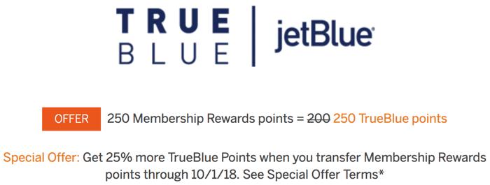American Express Membership Rewards to jetBlue TrueBlue Transfer Bonus August and September 2018