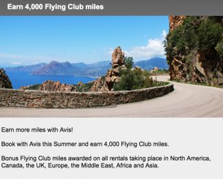 Avis Virgin Atlantic Flying Club 4000 Bonus Mile Promotion