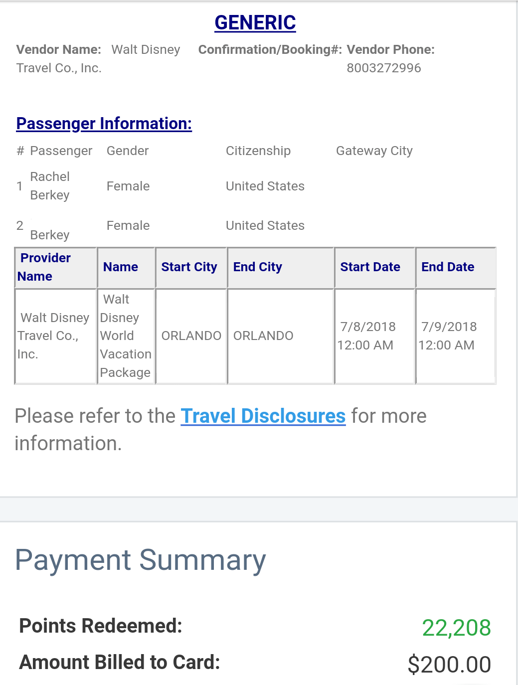 Chase Disney Confirmation