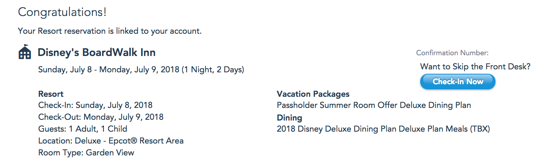 Disney Confirmation BoardWalk