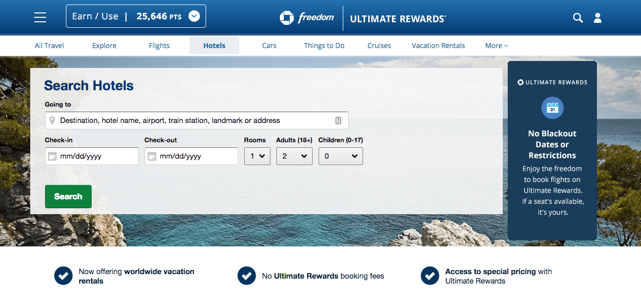 Expedia Integrated Ultimate Rewards Portal with Chase Freedom