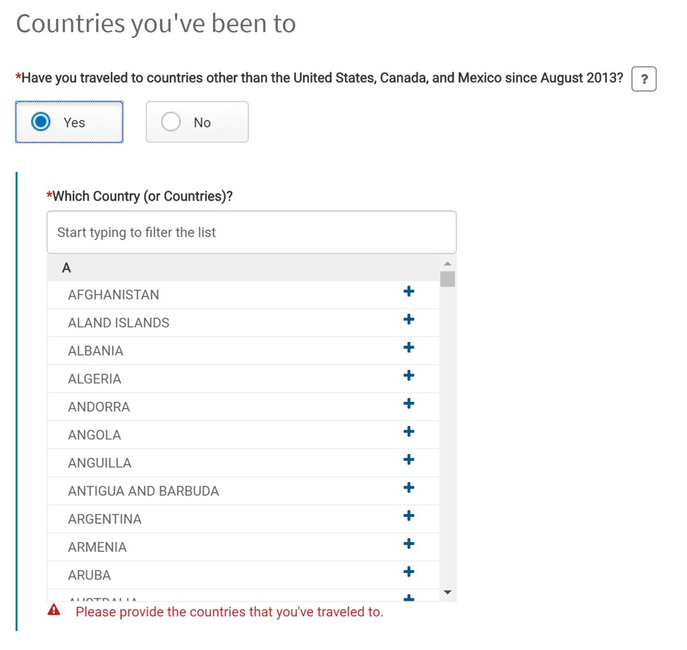 Global Entry Renewal - Countries youve been to
