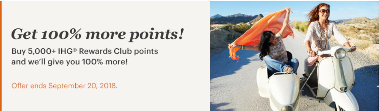 IHG 100 bonus on points purchases promotion