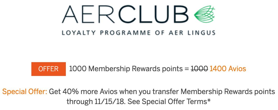 Membership Rewards to Aerclub Avios 40 Percent Bonus Through November 15 2018
