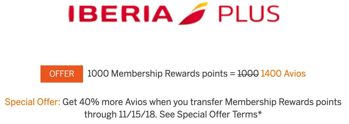 Membership Rewards to Iberia Avios 40 Percent Bonus Through November 15 2018