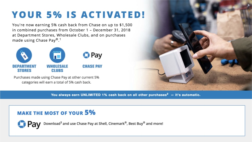 Chase Freedom Q4 2018 Activated
