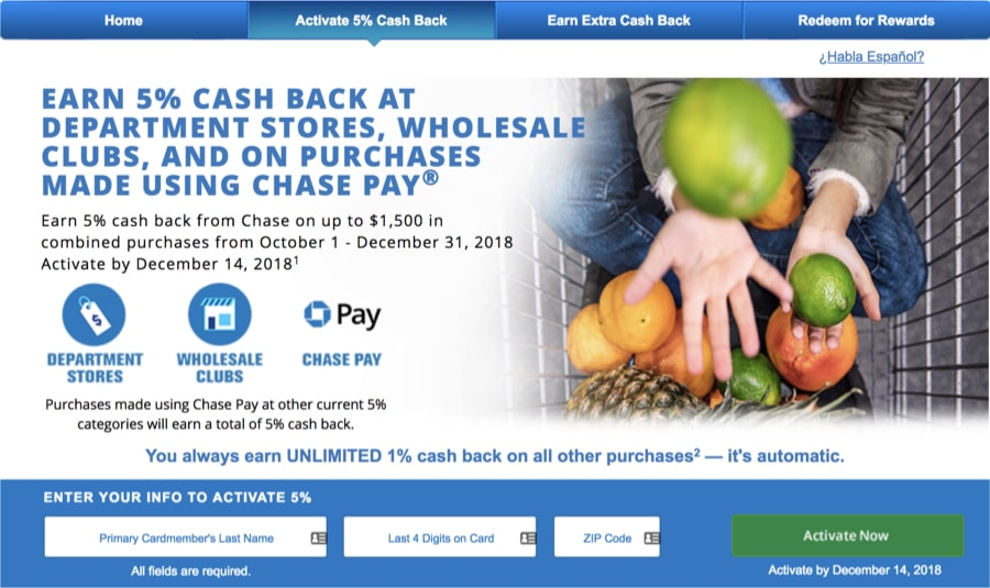 Chase Freedom Q4 2018 Activation