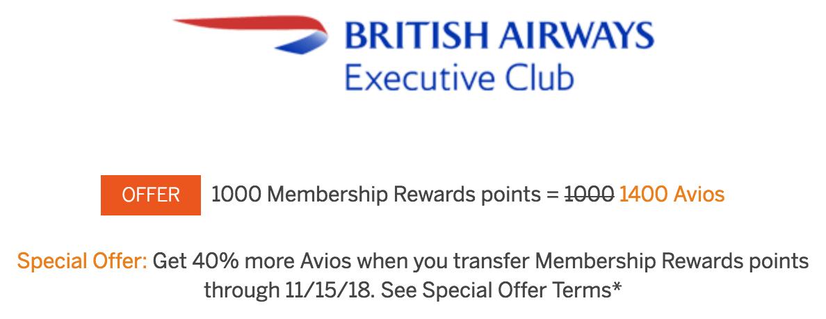 Membership Rewards to British Airways 40 Percent Bonus Through November 15 2018