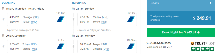 Dollar Flight Club - ANA - ORD to MNL