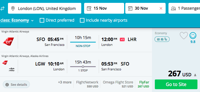 Dollar Flight Club - Virgin - SFO to London