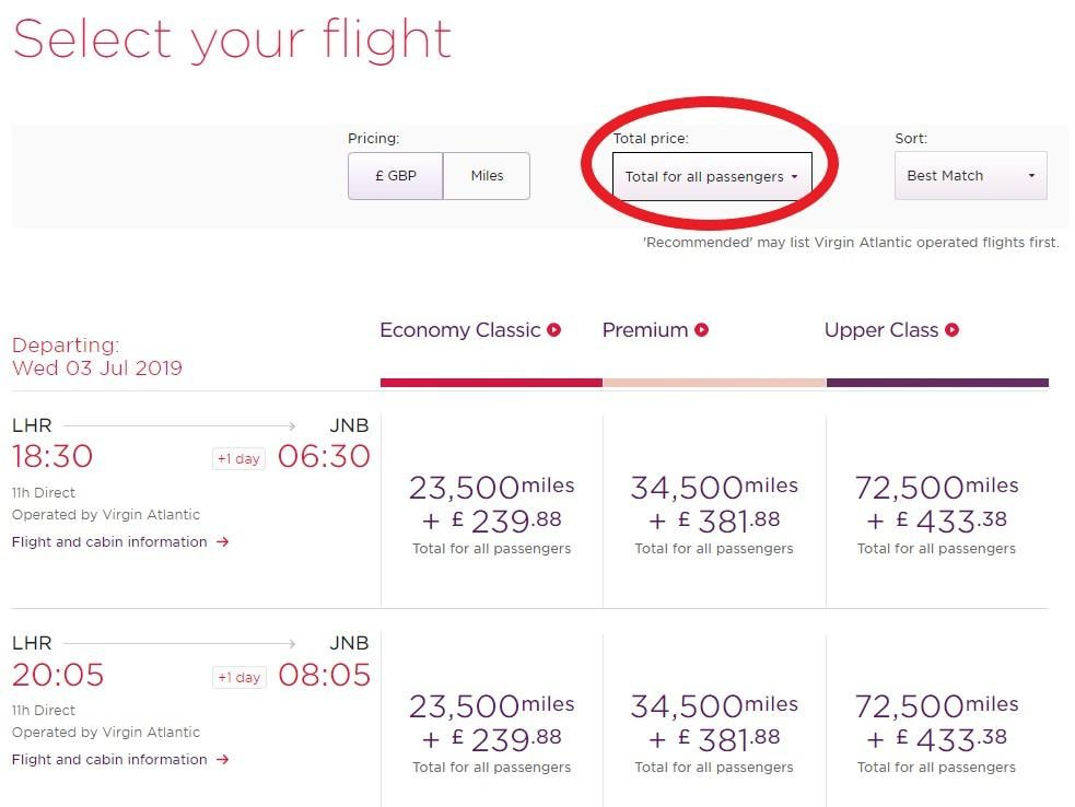 Virgin Atlantic - Infant - Adult and Infant Price