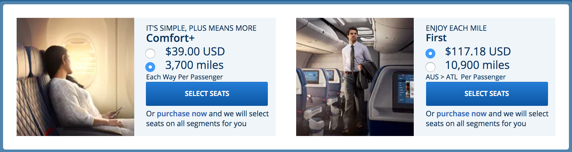 Upgrade with Cash or SkyMiles