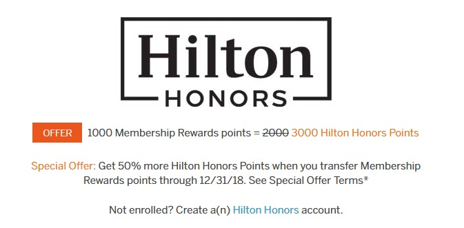 Transfer Amex to Hilton with up to 50% Bonus