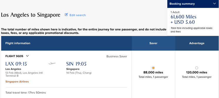 30% Off LAX-SIN in Business Class
