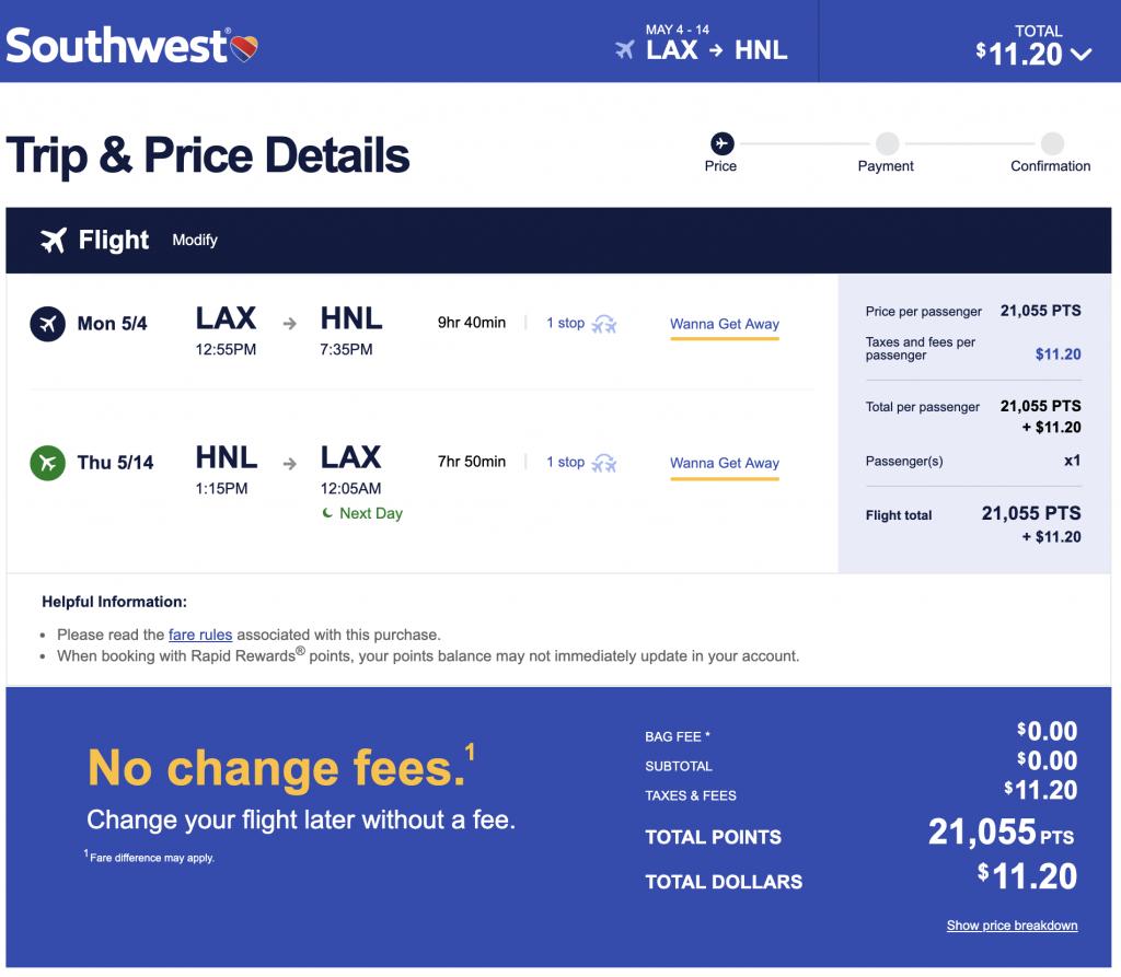 Southwest LAX to HNL