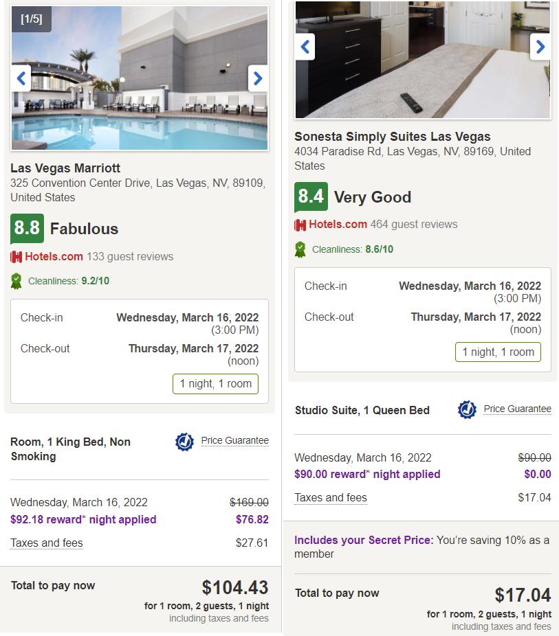 Hotels.com Free Night Redemption Comparison