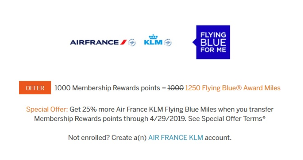 Transfer amex points to Air France with a 25 Bonus
