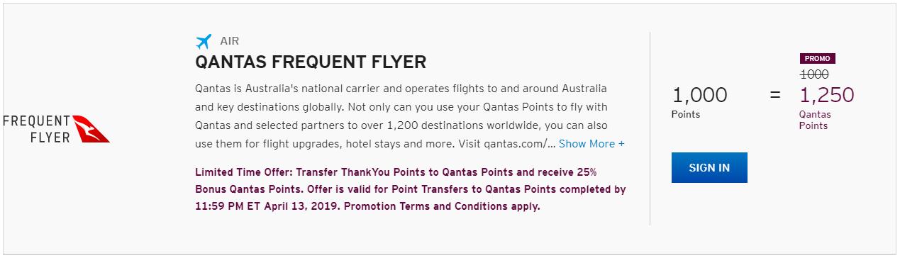 25% Bonus on Citi ThankYou Transfers to Qantas