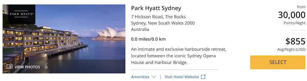 Redeem World of Hyatt Points Park Hyatt Sydney