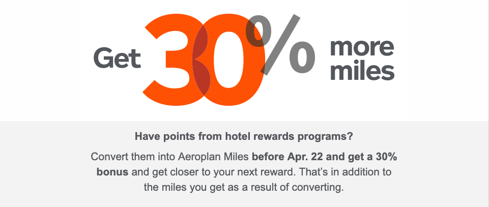 Get 30% more Miles when You Transfer Hotel Points to Aeroplan