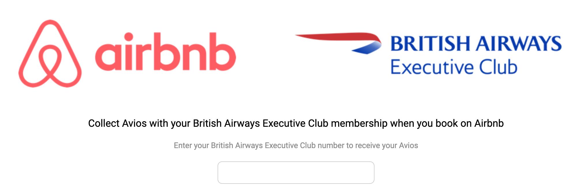 Airbnb Avios partnership page
