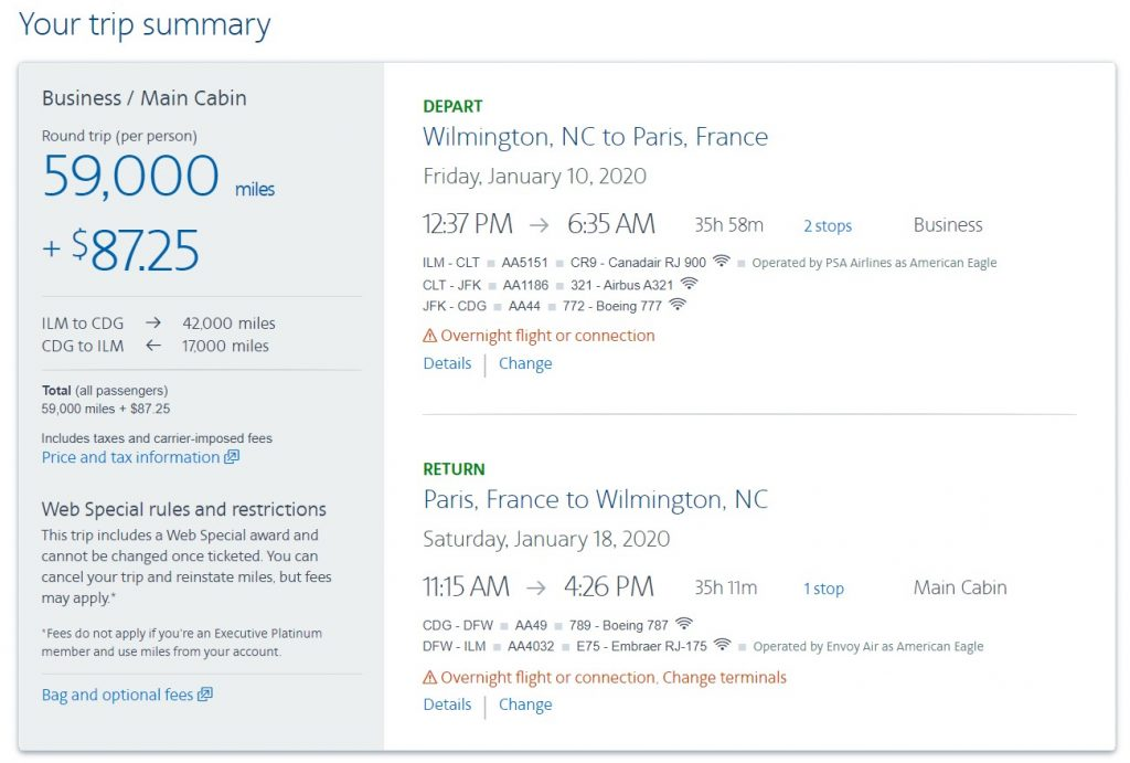 American Airlines AAdvantage Web Special Us to Europe