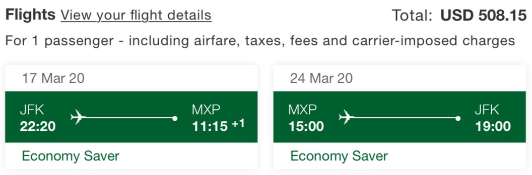 Emirates Skywards Economy Saver Fare