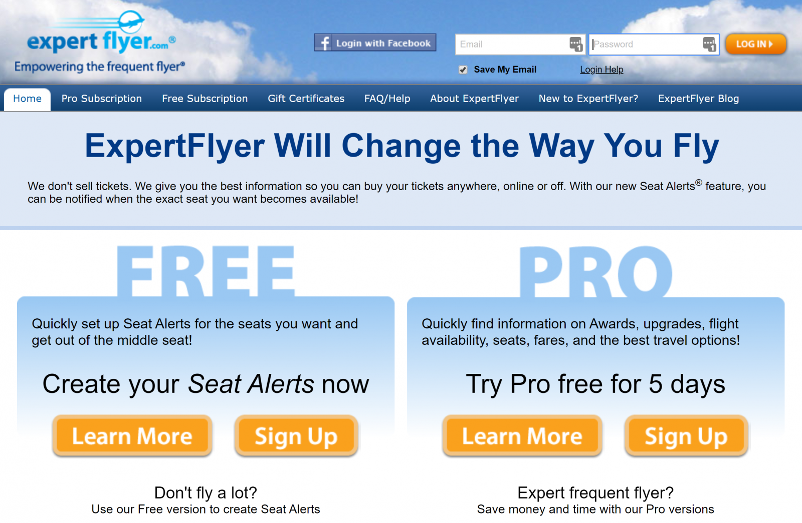 Expertflyer Homepage