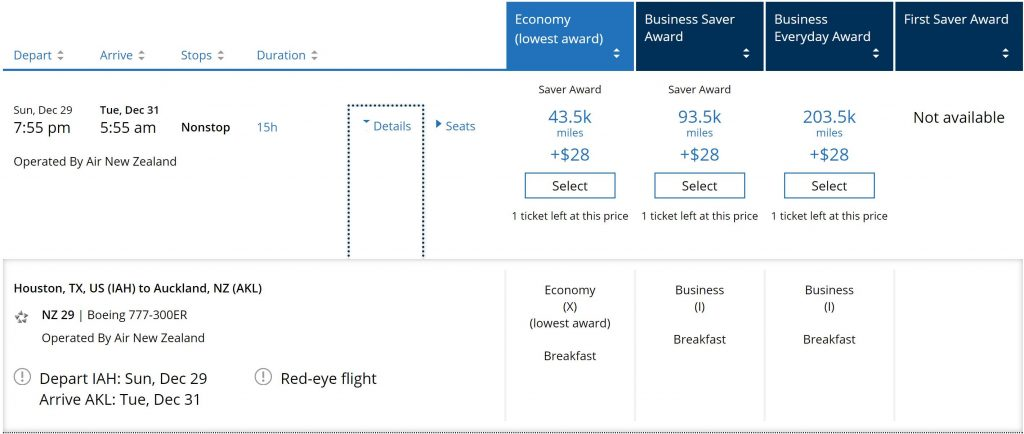 Business Class search through United