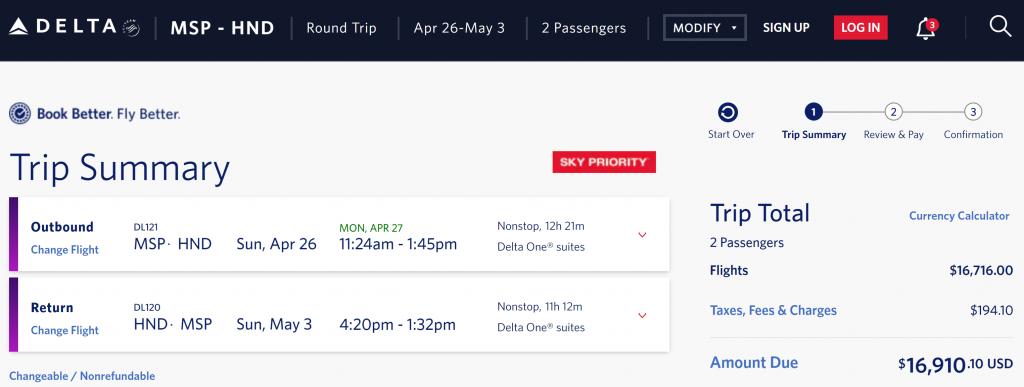 Delta One cash fare to HND