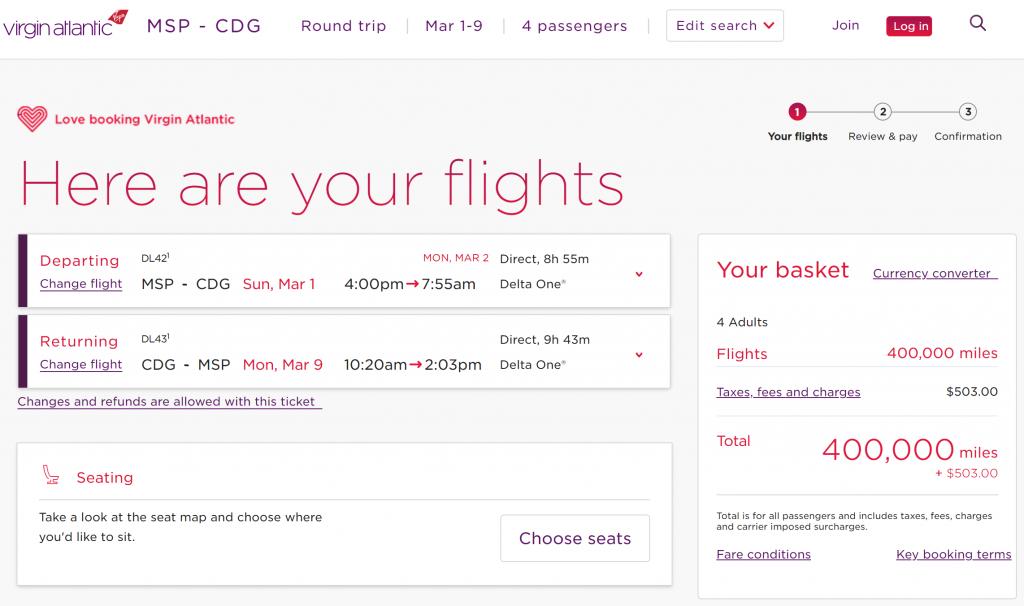 Award flights to Paris