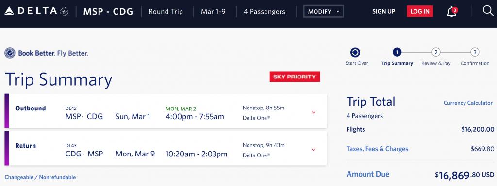 Delta One Cash Flight to Paris
