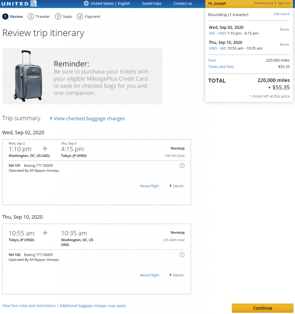 Booking ANA First with United Miles