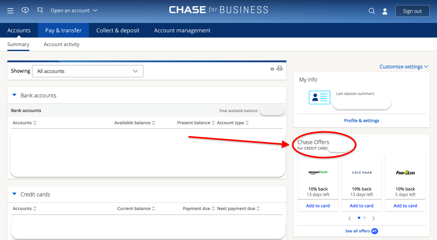 How to find chase offers (chase for business)