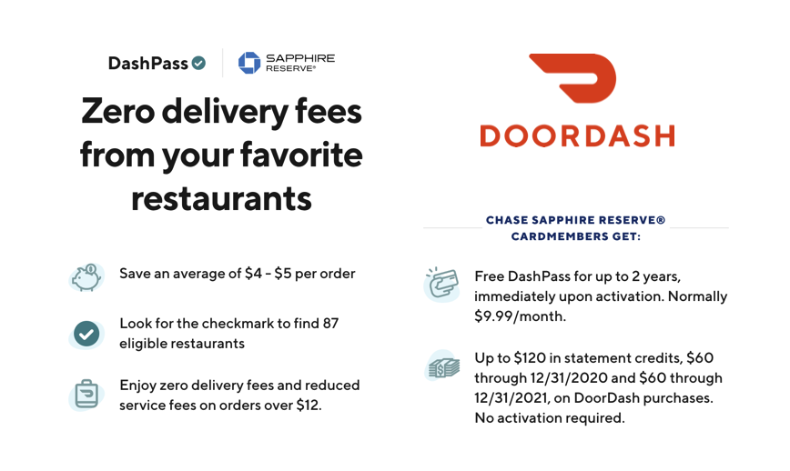 Get a Complimentary DashPass Membership and DoorDash credits with the Chase Sapphire Reserve