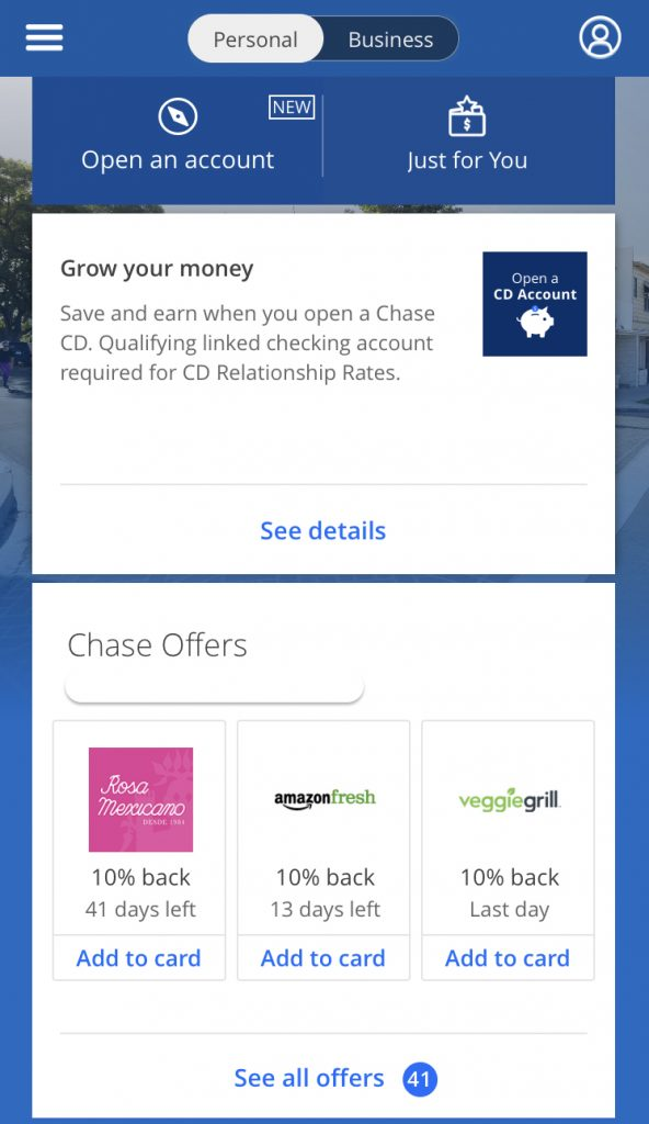 How to find chase offers on mobile app
