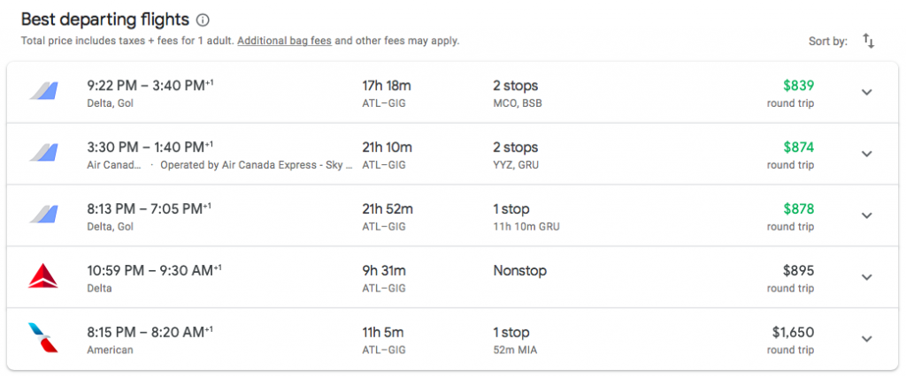 Cheapest revenue fare is twice as long as the award flight