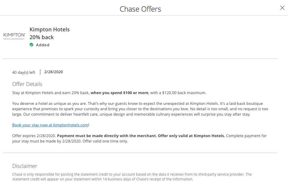kimpton hotels chase offer