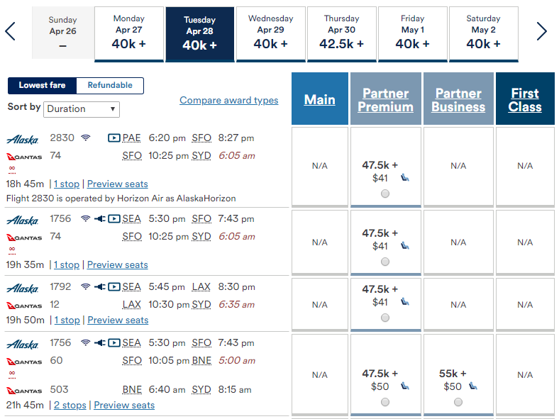Alaska Airlines Mileage Plan mixed-cabin partner awards