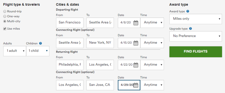 Alaska Airlines Mileage Plan multi-city award search