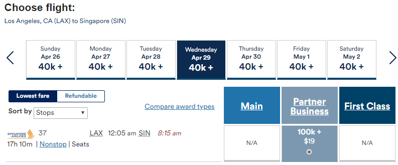Book Singapore Airlines premium cabin awards with Alaska Airlines Mileage Plan