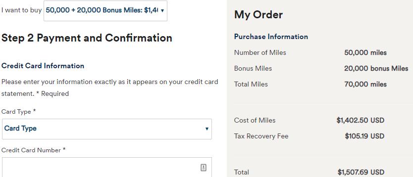 Purchasing Alaska Miles
