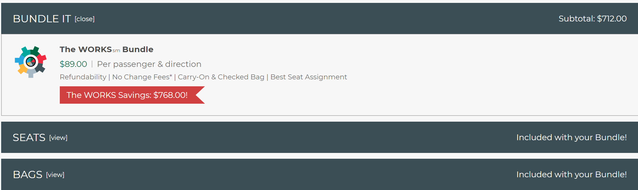 $712 for seat selection and baggage